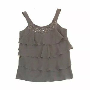 Lane Bryant Ruffle Tank Top Gray Sequins Neck Line